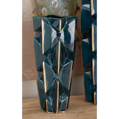Litton Lane 15 in. Modern Bowtie Blue and Gold Ceramic Decorative Vase