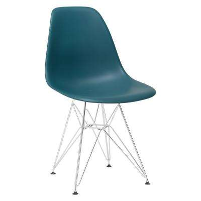 Padget Chrome and Teal Side Chair