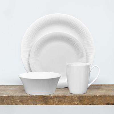 Conifere 4-Piece Casual white Porcelain Dinnerware Set (Service for 1)