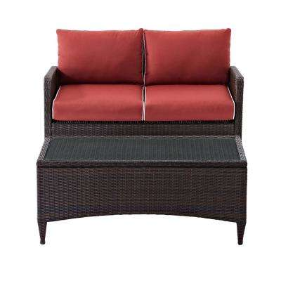 Kiawah 2-Piece Wicker Outdoor Conversation Set with Sangria Cushions