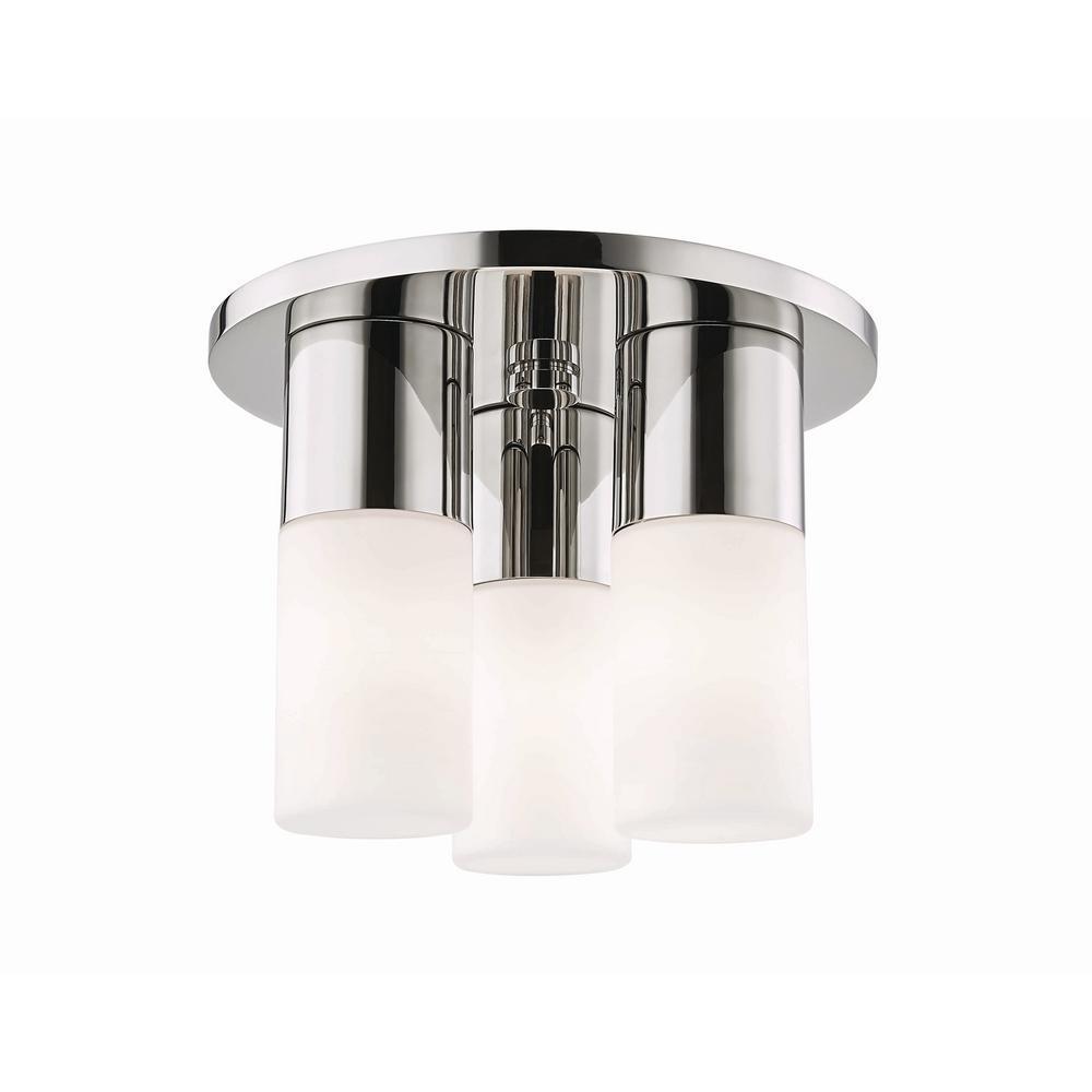 Lola 3-Light Polished Nickel LED Flushmount with Opal Glass Shade