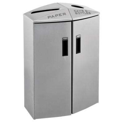23 in. H x 37 in. W x 17 in. D 12 Gal. Element Paper/Trash Can Station Commercial Trash Can