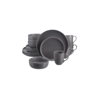 Prescott 16-Piece Charcoal Gray Stoneware Dinnerware Set (Service for 4)