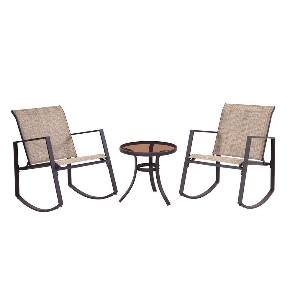 Liberty Garden Brown 3-Piece Metal Aurora Sling Outdoor Seating Set