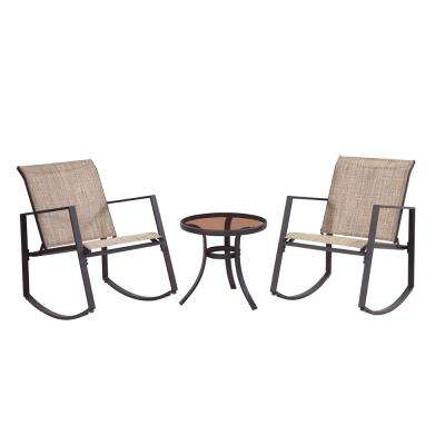 Brown 3-Piece Metal Aurora Sling Outdoor Seating Set