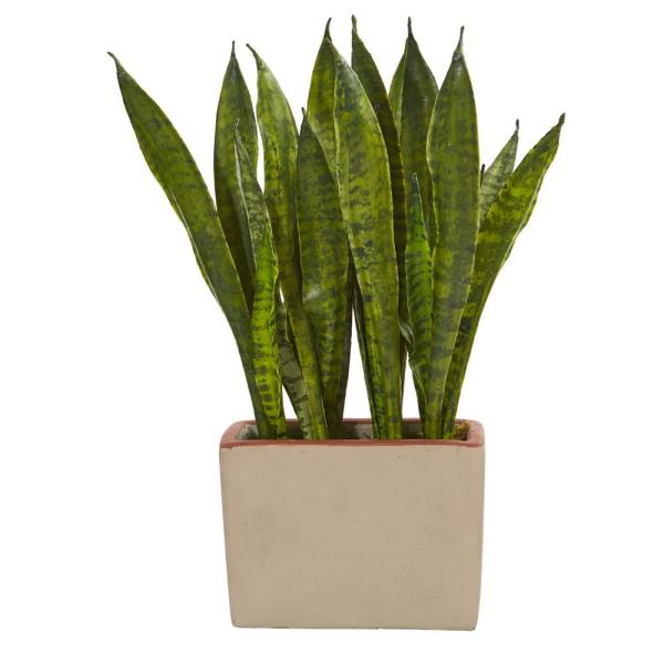 Nearly Natural Indoor Sansevieria Artificial Plant In Ceramic Planter 4242 The Home Depot