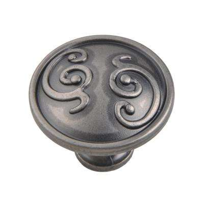 Roma 1-1/4 in. Pewter Cabinet Knob