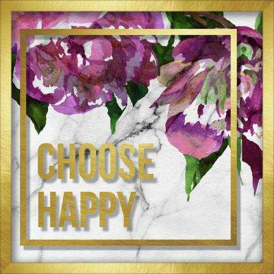 """12 in. x 12 in. """"Choose Happy Marble And Watercolor Peonies"""" Shadowbox Wall Art"""