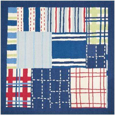 Kids Blue/Multi 7 ft. x 7 ft. Square Area Rug