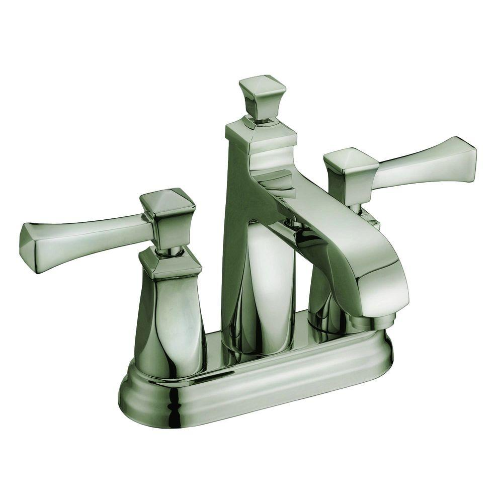 Yosemite Home Decor 4 In Minispread 2 Handle Deck Mount Bathroom Faucet In Brushed Nickel With