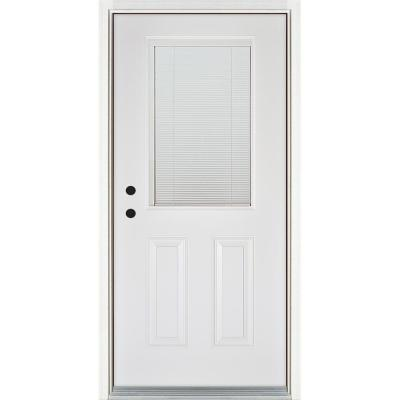 36 in. x 80 in. Low-E Blinds Between Glass White Right-Hand Inswing 1/2 Lite Clear Fiberglass Prehung Front Door