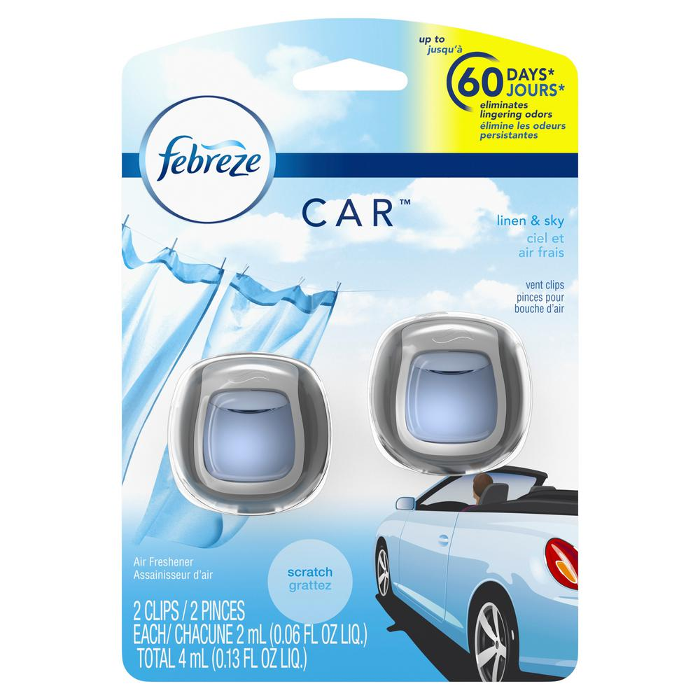 0.06 oz. Linen and Sky Car Vent Clip Air Freshener (2-Pack)