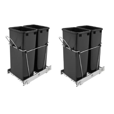 Double 35 Qt. Sliding Pull Out Waste Bin Container (2-Pack)