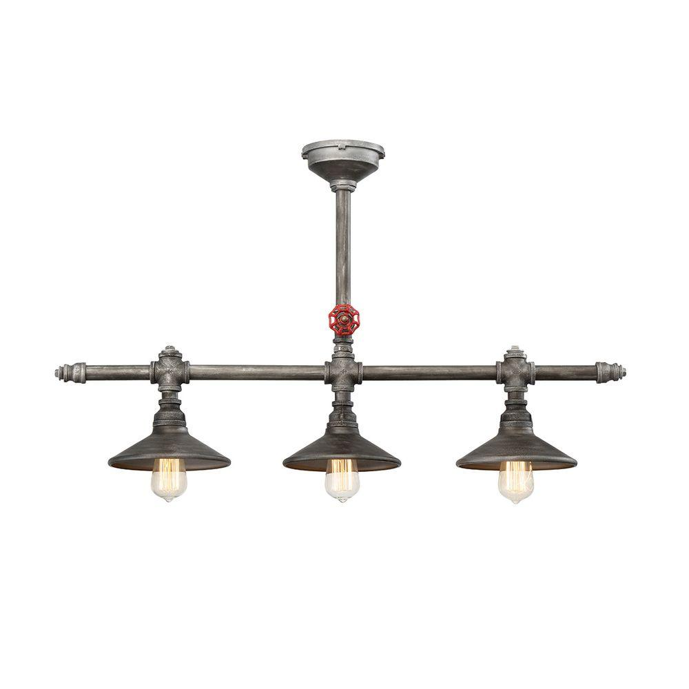 Eurofase Zinco Collection 3-Light Aged Silver Chandelier