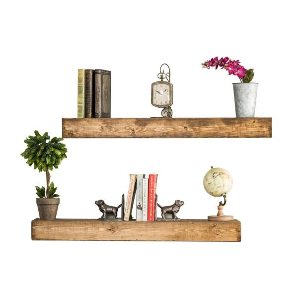 Del Hutson Designs Artisan Haute 6in x 36in x 3.5in Walnut Pine Wood Floating Box Set of Two Decorative Wall Shelves