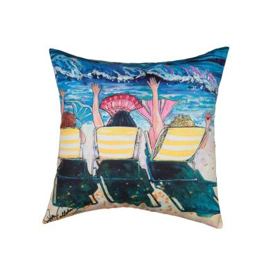 Mermaid Beach Party Blue Geometric Down Alternative 18 in. x 18 in. Throw Pillow