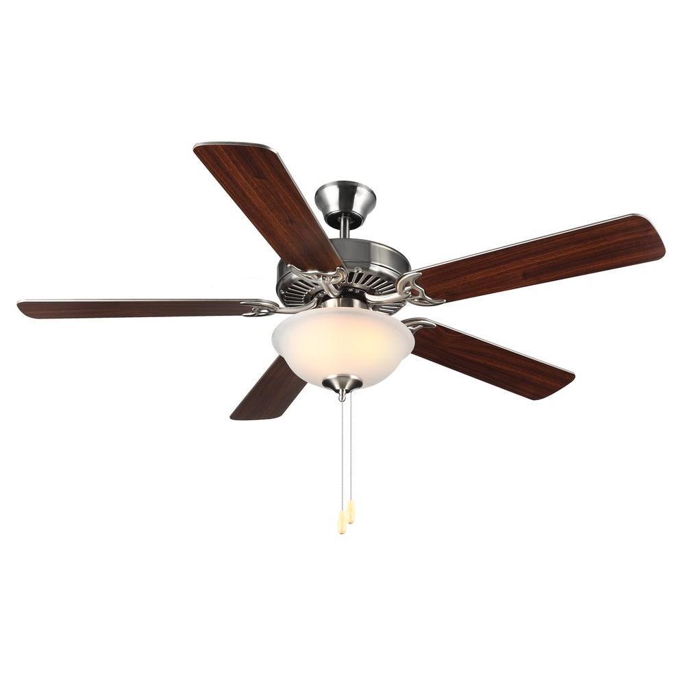 HomeBuilder II 52 in. Brushed Steel Ceiling Fan with Silver American Walnut Blades