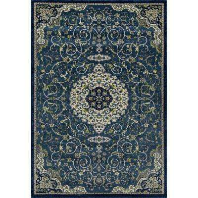 Dexter Calligraphy Peacock blue 5 ft. x 8 ft. Area Rug