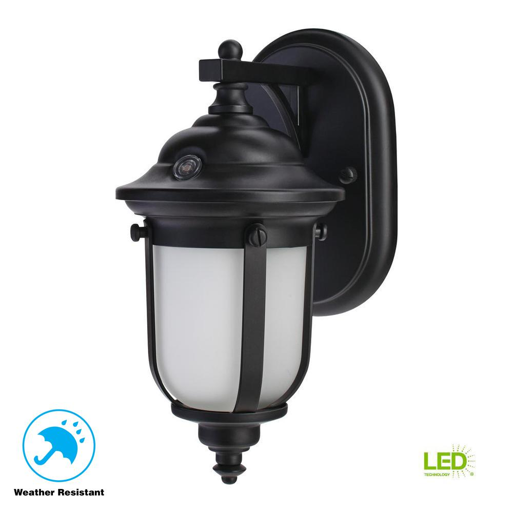 Home Decorators Collection LED Exterior Wall Lantern Sconce with Dusk to Dawn Control