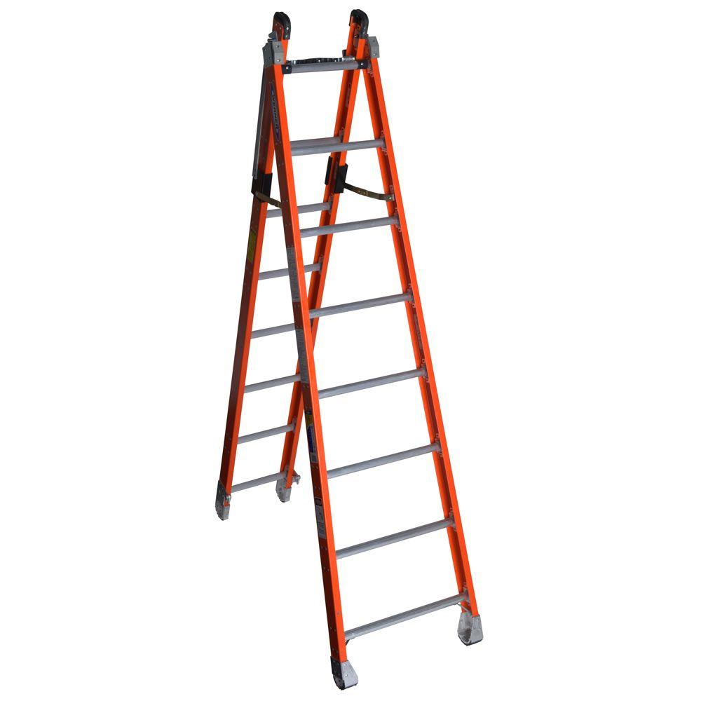 Werner 16 ft. Fiberglass Combination Ladder with 375 lb. ...