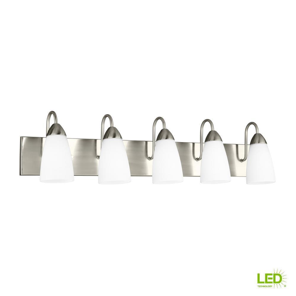 Sea Gull Lighting Seville 5-Light Brushed Nickel Bath Light with LED Bulbs