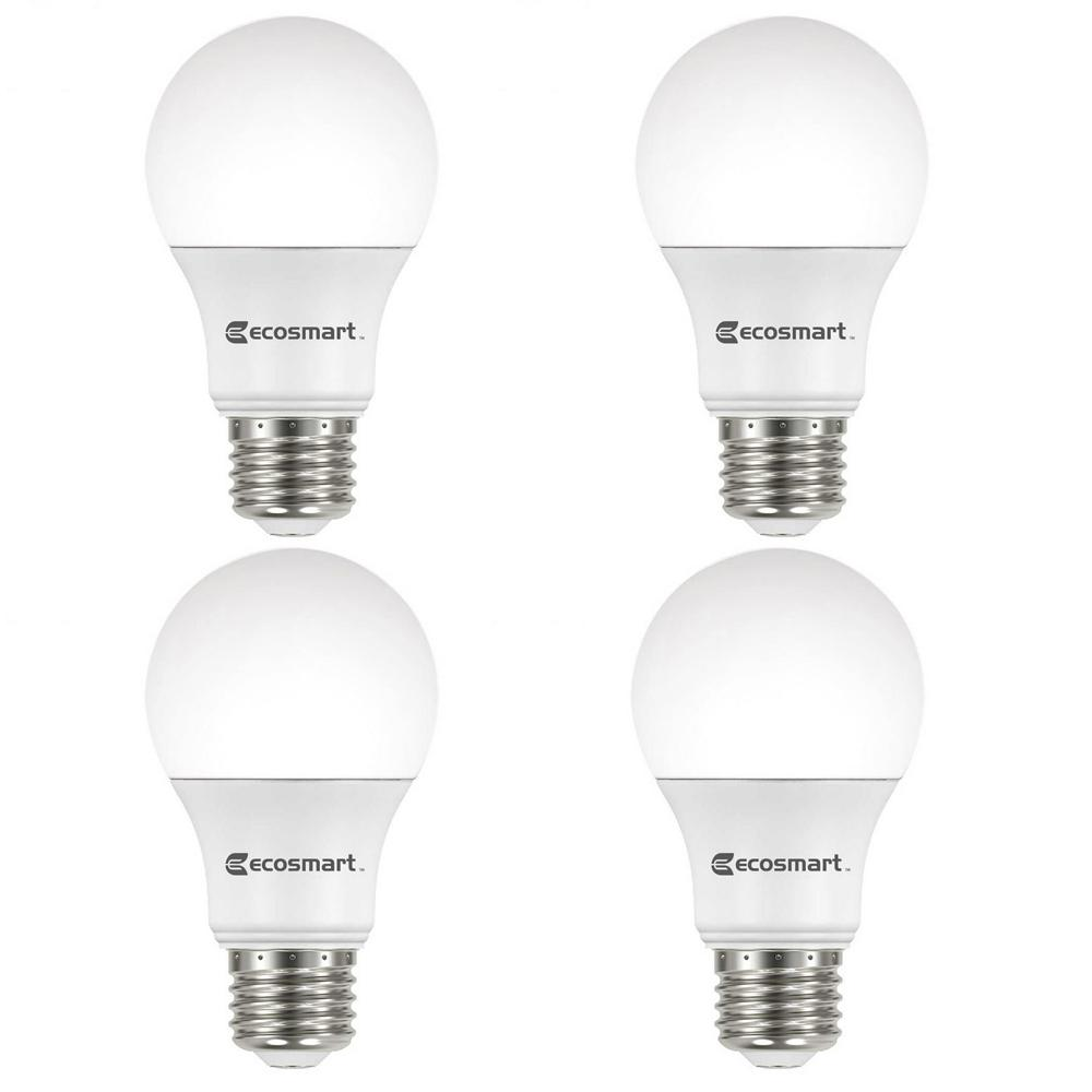 EcoSmart 60-Watt Equivalent A19 Non-Dimmable CEC LED Light Bulb ...