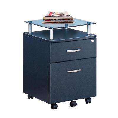 Graphite Rolling File Cabinet with Glass Top