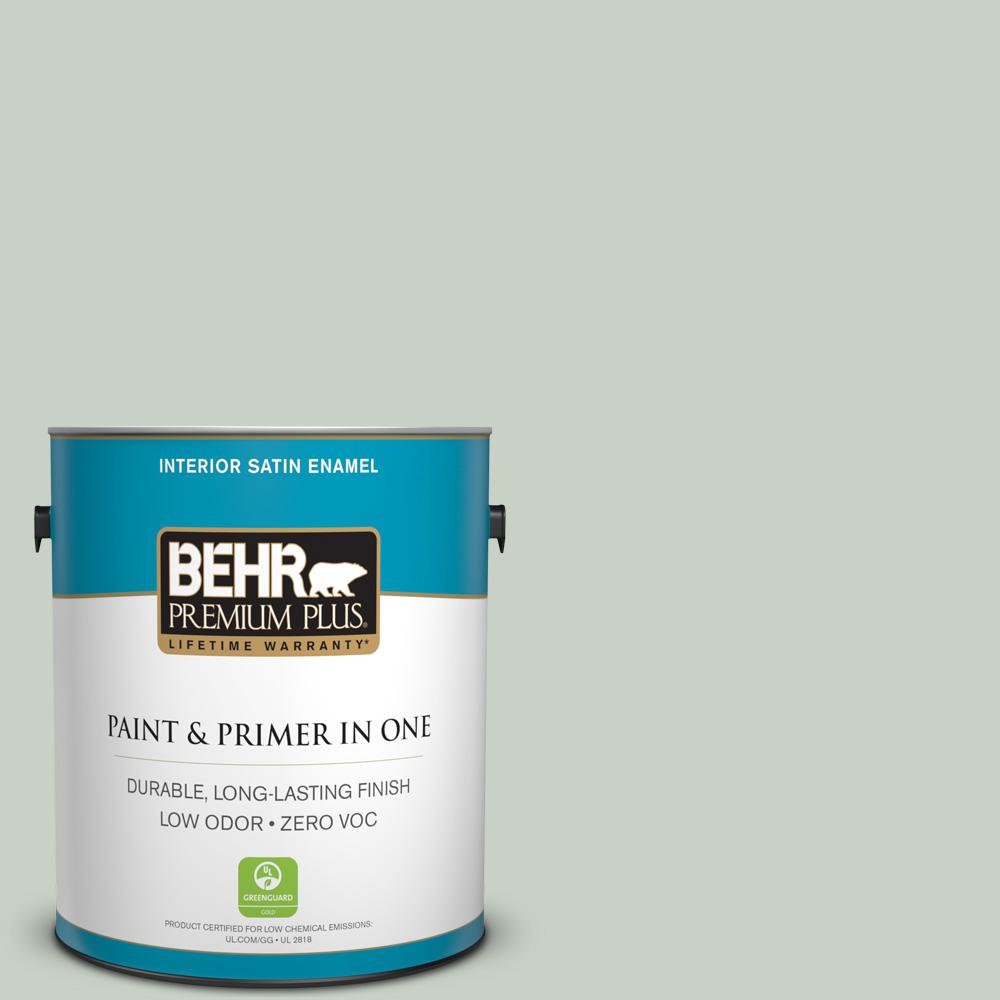 1 gal. #PPU11-12 Mild Mint Zero VOC Satin Enamel Interior Paint