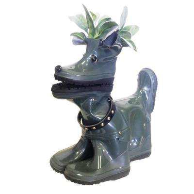 15 in. Lily the Boot Buddies Dog Sculpture and Planter Home and Garden Loyal Companion Statue