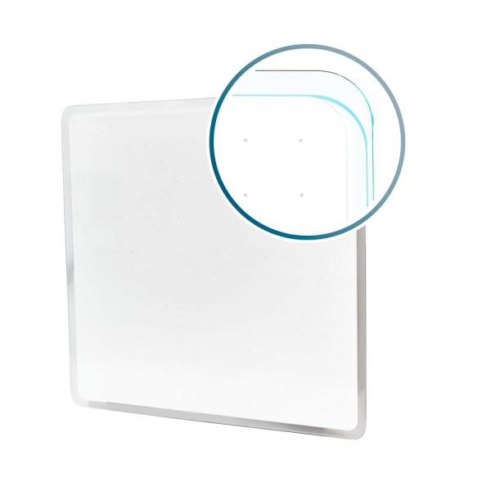 Viztex® Glacier 14 in. x 14 in. White Multi-Purpose Grid Glass Dry Erase Board