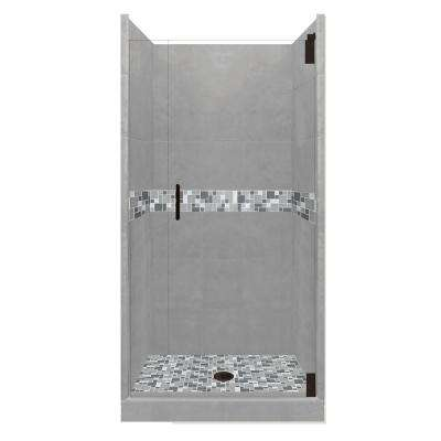 Newport Grand Hinged 38 in. x 38 in. x 80 in. Center Drain Alcove Shower Kit in Wet Cement and Black Pipe Hardware