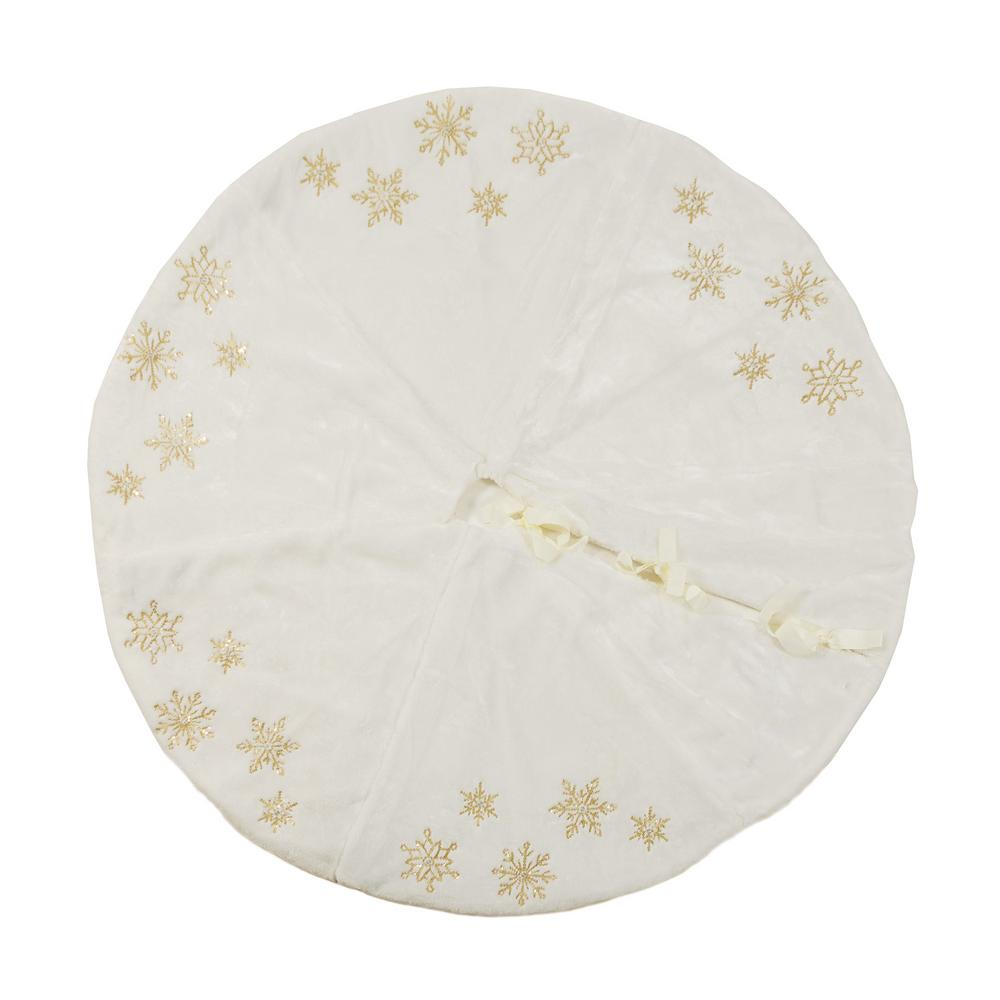 Manor Luxe 56 In Snowflake Sequin Soft Plush Furry Round Christmas
