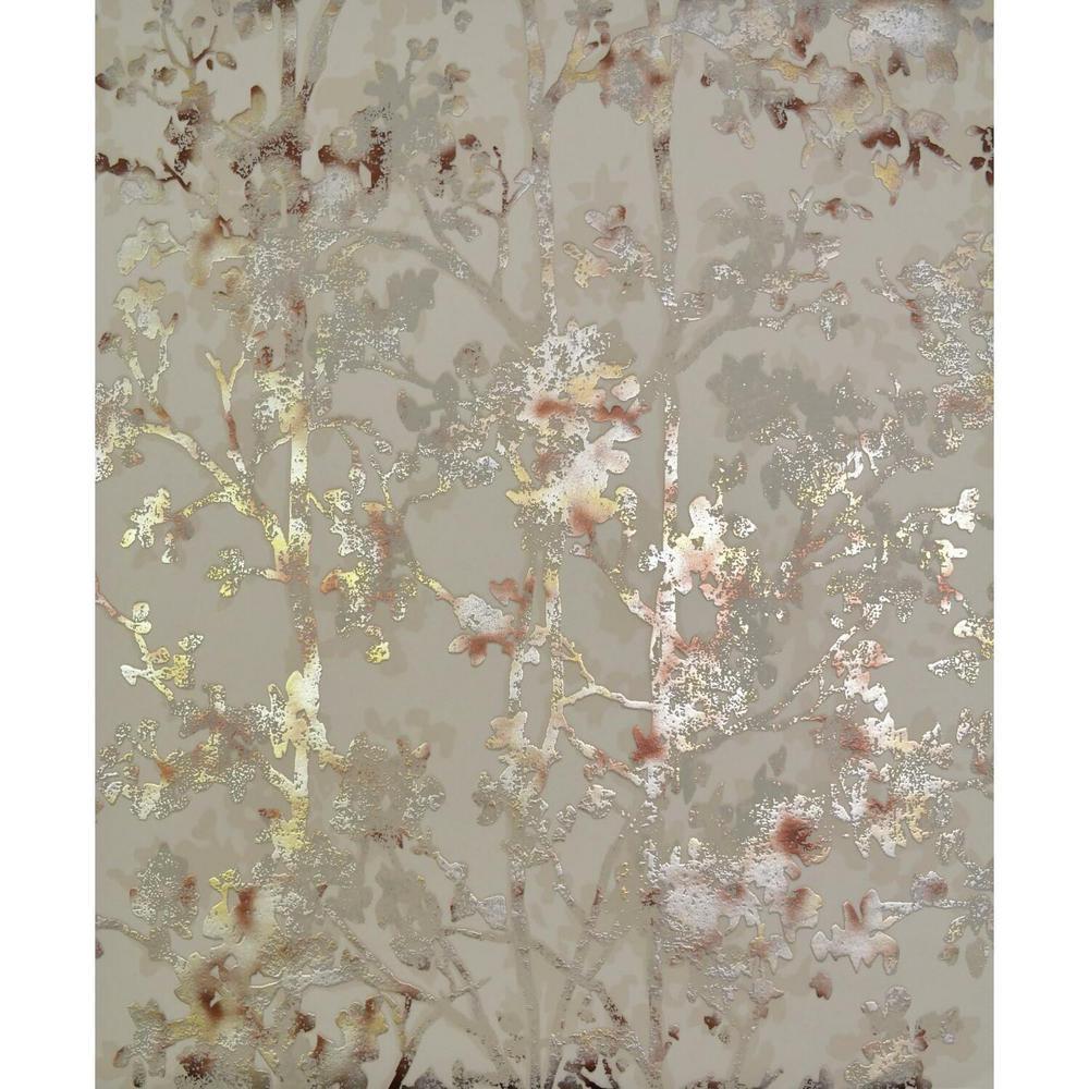 56.9 sq. ft. Khaki Shimmering Foliage Wallpaper