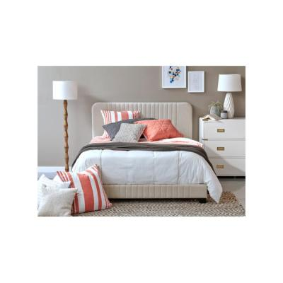 All-in-One Beige King Bed with Channeled Headboard and Footboard