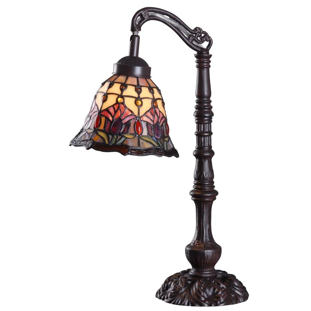 Kenroy Home 20 in. H Floret Multi-Colored Stained Glass Shade Table Lamp with Metal Base