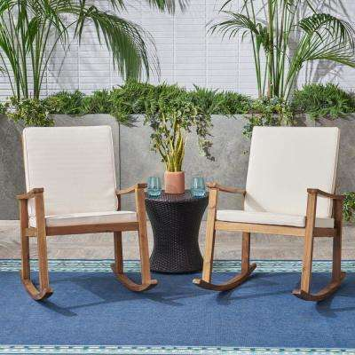 Candel Teak Brown Wood Outdoor Rocking Chair with Cream Cushions (2-Pack)