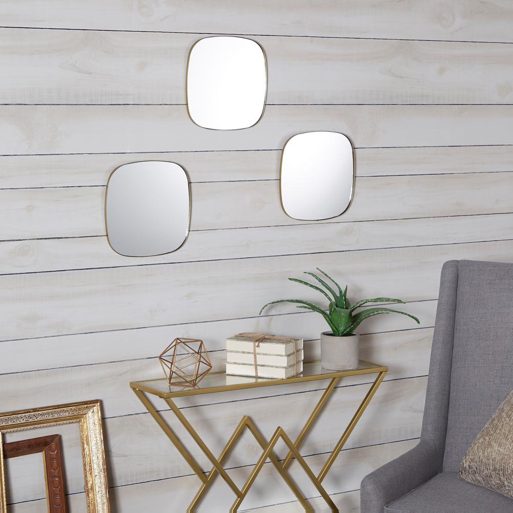 Dorado Rounded Gold Mirror Set of 3
