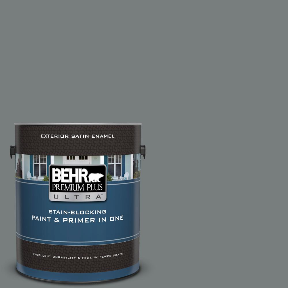 Ppu25 18 Shutter Gray Satin Enamel Exterior Paint And Primer In One