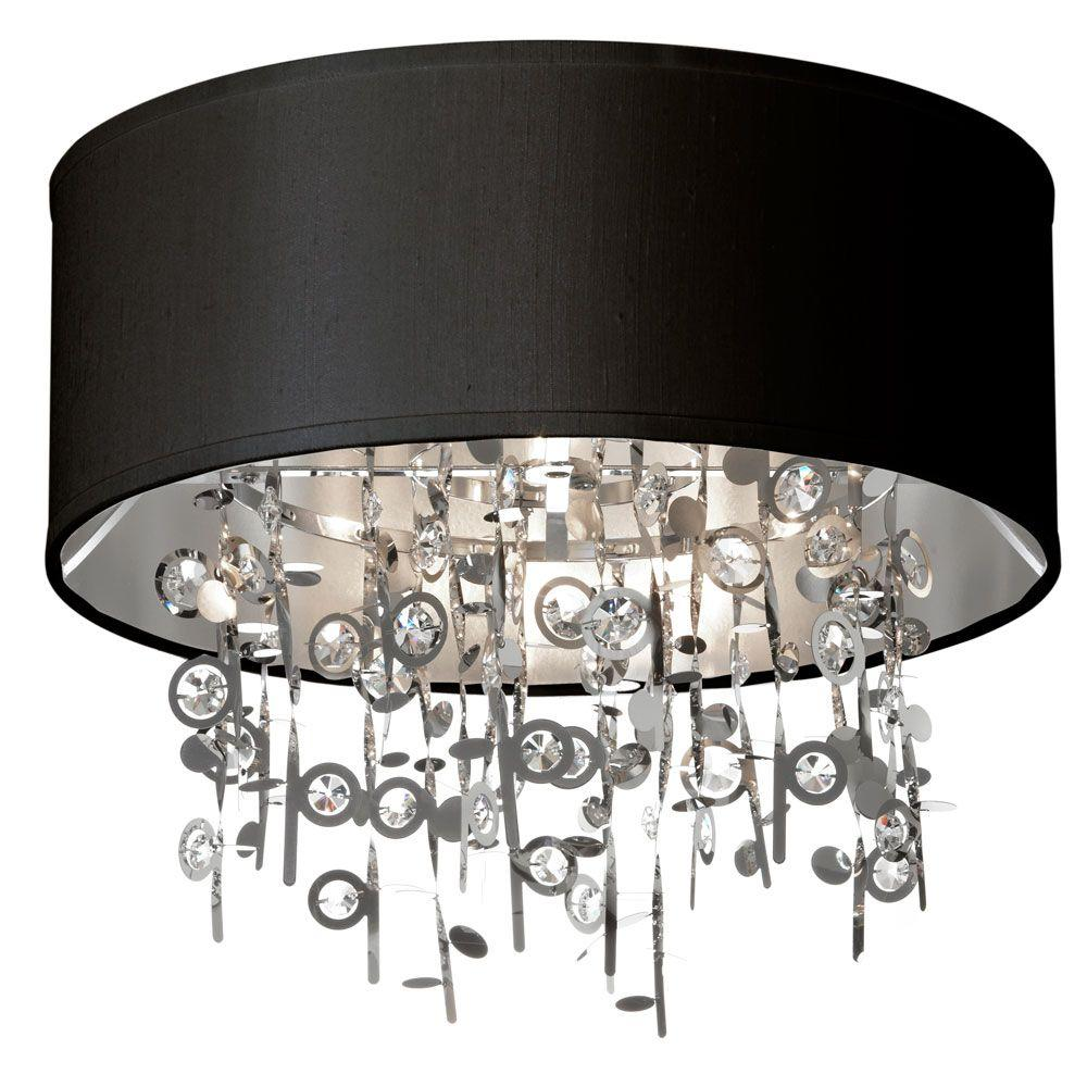 Dainolite Picabo 4 Light Polished Chrome Crystal Semi Flush Mount With Black Shade