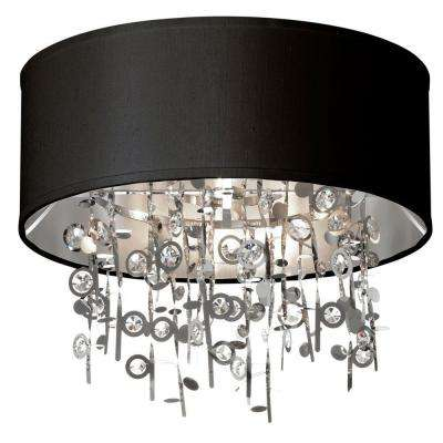 Picabo 4-Light Polished Chrome Crystal Semi-Flush Mount with Black Shade
