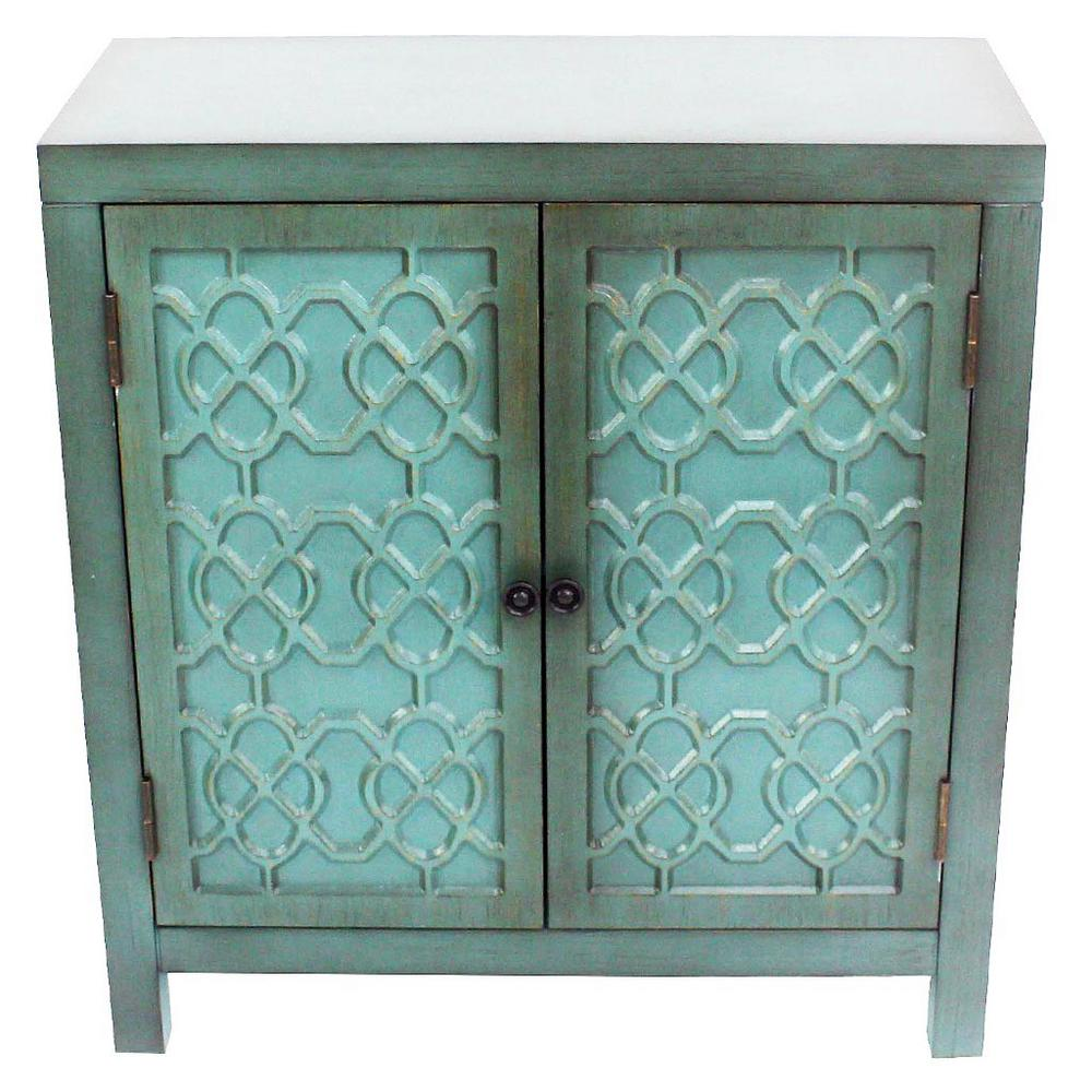 River of Goods Antique Teal Cabinet with 2-Quatrefoil Doors - River Of Goods Antique Teal Cabinet With 2-Quatrefoil Doors-15206