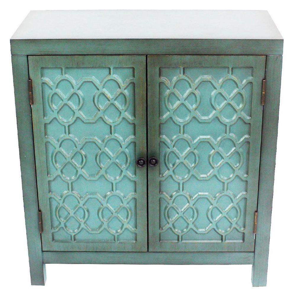Antique Teal Cabinet with 2-Quatrefoil Doors
