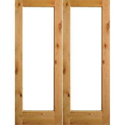 60 in. x 96 in. Rustic Knotty Alder Right Hand Inswing Full-Lite Clear Glass Unfinished Wood Double Prehung Front Door