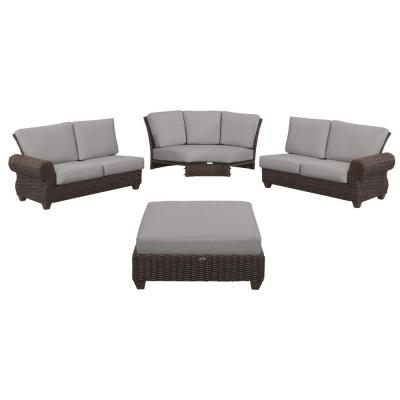 Mill Valley 4-Piece Brown Wicker Outdoor Patio Sectional Sofa Set with CushionGuard Stone Gray Cushions