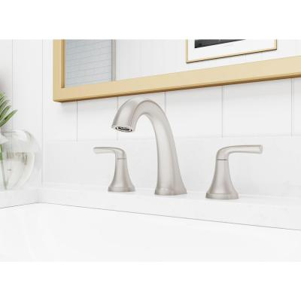 Ladera 8 in. Widespread 2-Handle Bathroom Faucet in Spot Defense Brushed Nickel (2-Pack)