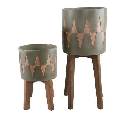 Mid-Century 10 in. x 8 in. Olive Arrow Cement Planter on Wood Stand Planter (Set of 2)