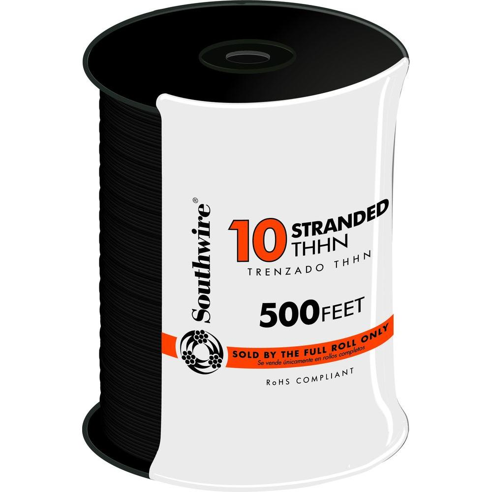 Southwire 500 ft. 10 Black Stranded CU THHN Wire