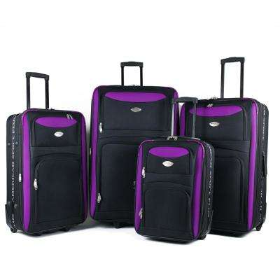 Duo Black/Purple 4-Piece Expandable In-Line Luggage Set