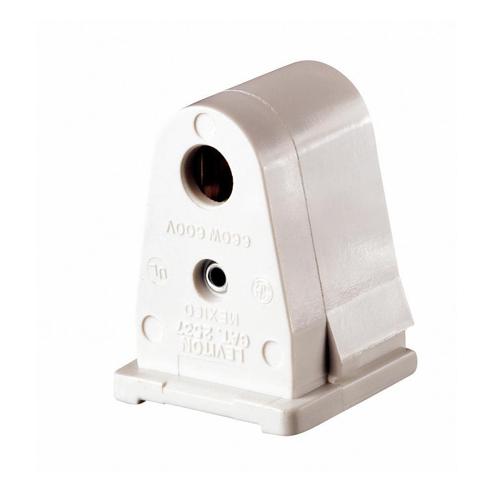 660-Watt White Slimline Base Single Pin Pedestal Slide-On Lock-On Stationary Standard Fluorescent Lampholder