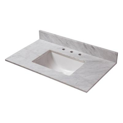 31 in. W Marble Vanity Top in Carrara with White Trough Sink